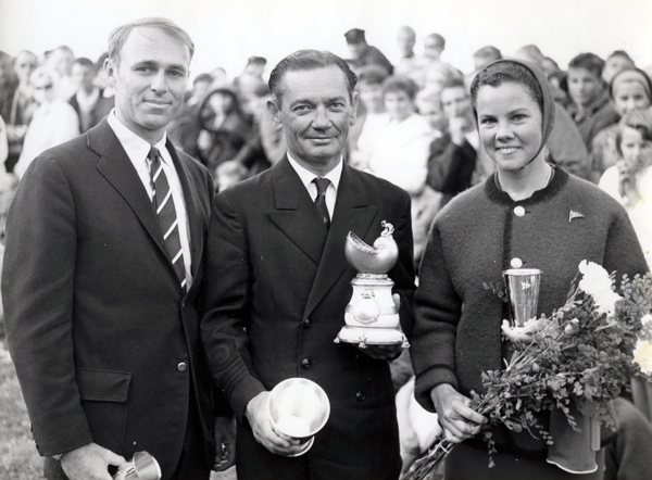 Pete Masterson, Ernie Fay, winner of the 1962 Scandinavian Gold Cup, and his niece, Marion Fay.