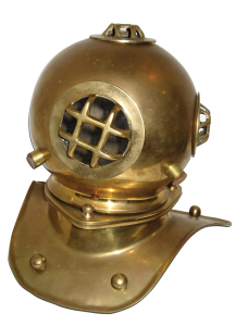 Vintage brass diver's helmet from I Spy in Kemah.