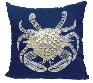 Crab throw pillow available at Island Furniture in Seabrook.