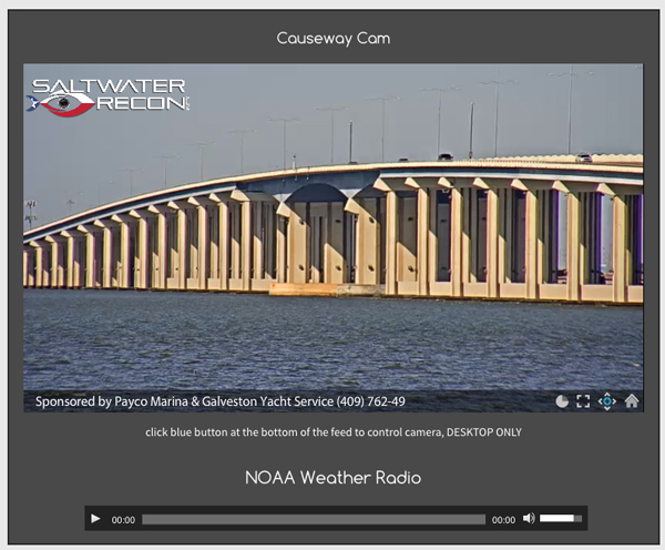 causeway cam Galveston Bay Webcams at Saltwater Recon.com