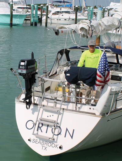 Dave Popken aboard Orion, a Sabre 38