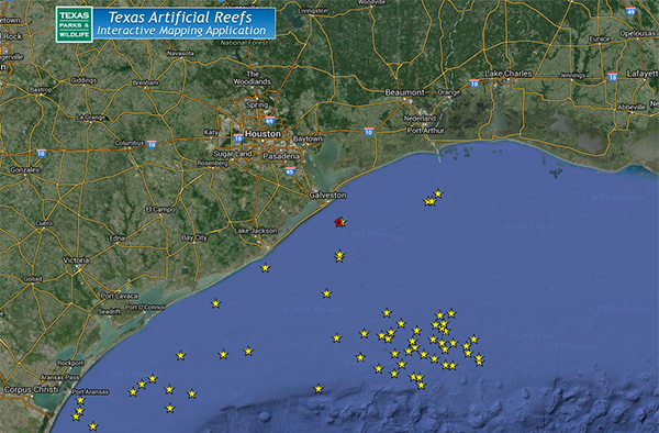 texas reef map Texas Artificial Reefs